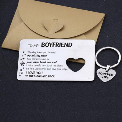 Wallet Card Insert And Heart Keychain Set - To My Boyfriend - The Day I Met You - Gcb12002
