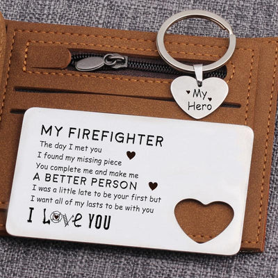 Wallet Card Insert And Heart Keychain Set - To My Firefighter - A Better Person - Gcb26001