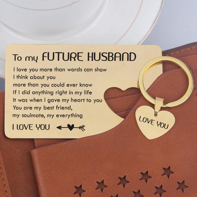 Wallet Card Insert And Heart Keychain Set - To My Future Husband - You Are My Everything - Gcb24003