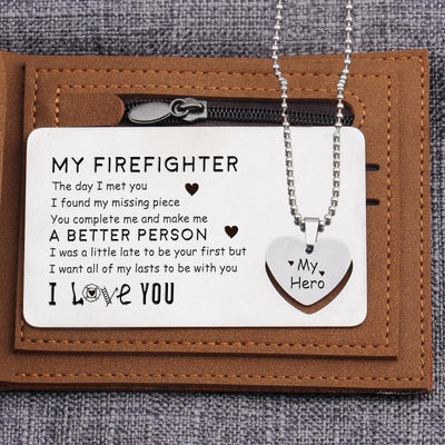 Wallet Card Insert And Heart Necklace Set - To My Firefighter - A Better Person - Gcc26001