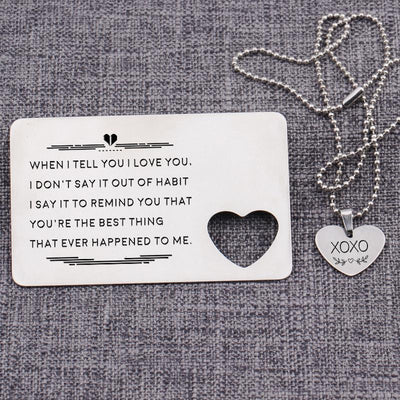 Wallet Card Insert And Heart Necklace Set - When I Tell You - Gcc26003