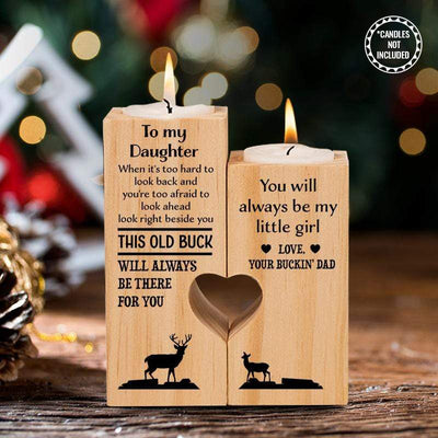 Wooden Heart Candle Holder - Hunting - To My Daughter - You Will Always Be My Little Girl - Ghb17002