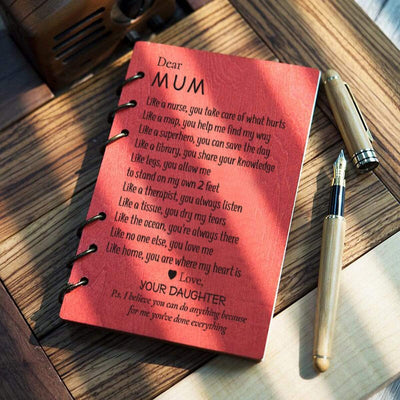 Wooden Notebook - To My Mum - Like Home, You Are Where My Heart Is - Gdb19002
