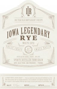Iowa Legendary Rye, White Rye, 40% ABV, 750 ML