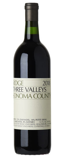 2018 Ridge Vineyards Zinfandel Three Valleys, Sonoma County