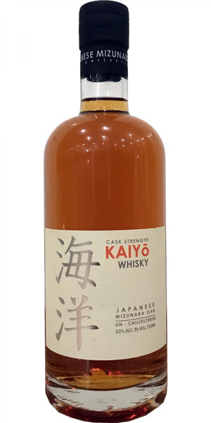 Kaiyo Whisky, Japanese Mizunara Oak. Cask Strength 53% ABV 750 ML