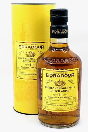 Edradour Highland Single Malt Scotch Whisky Aged 11 Years, Sauternes Cask Matured, 120.8 Proof. 750ML