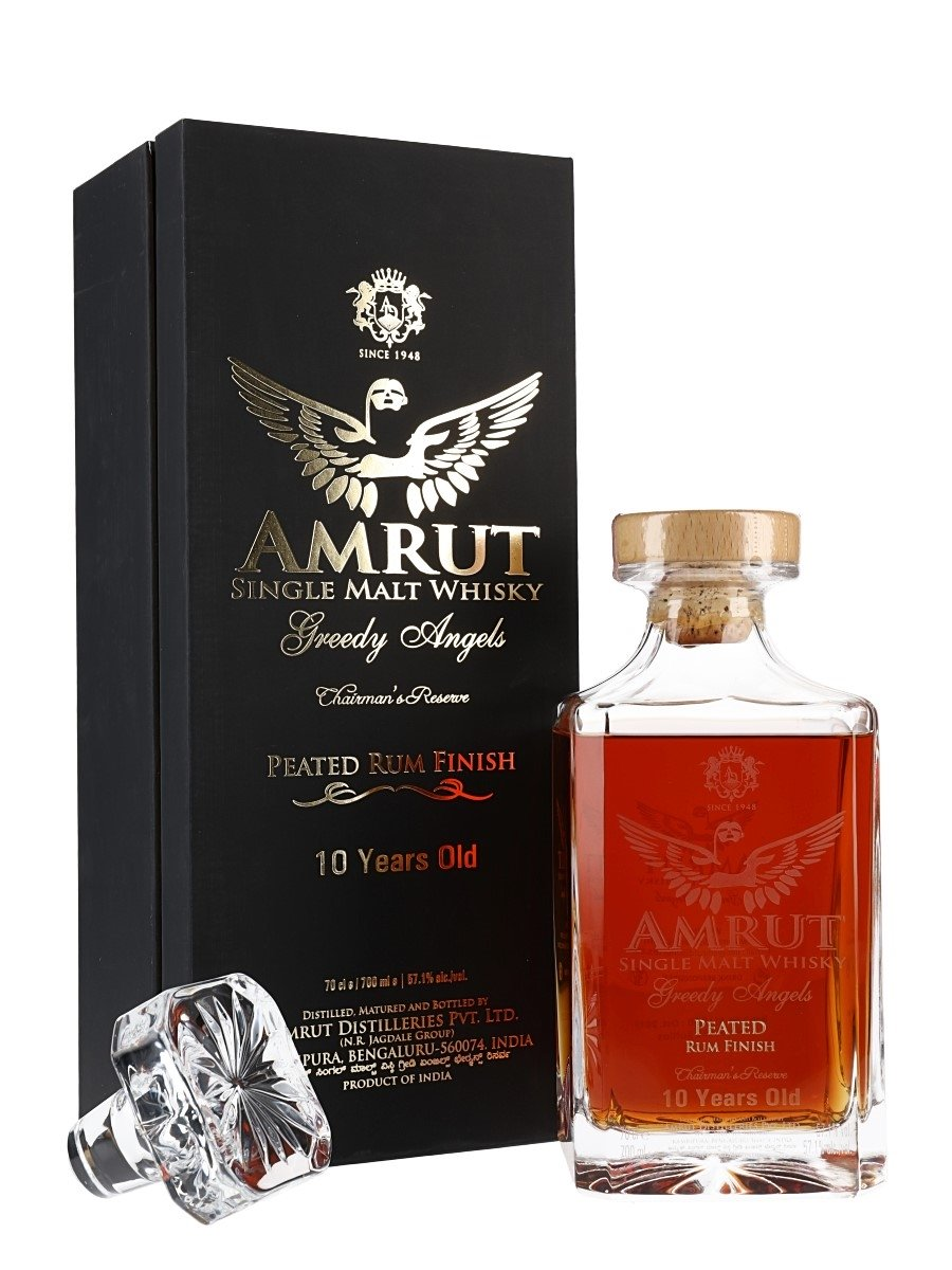 Amrut Greedy Angel Peated Rum Finish 10 Year Single Malt Whisky 114.2 Proof