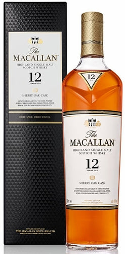 The Macallan Highland Single Malt Scotch Whisky Sherry Oak 12 Years Old 750ML