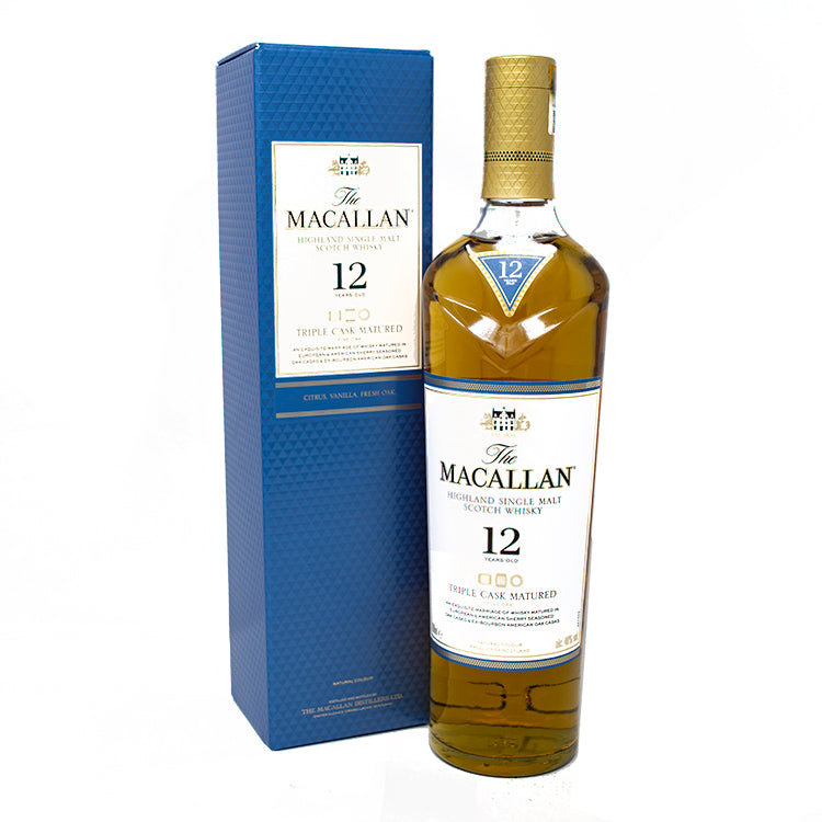 The Macallan Highland Single Malt Scotch Whisky Triple Cask Matured 12 Years Old 750ML