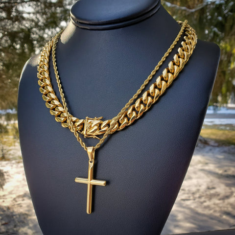 Gold Cross & Cuban Necklace Set - Hip Hop Jewelry | PrimoBling