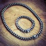 Stainless Steel Cuban Necklace & Bracelet Set - Hip Hop Jewelry | PrimoBling