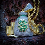 Money Bag Currency Necklace - Hip Hop Jewelry | PrimoBling