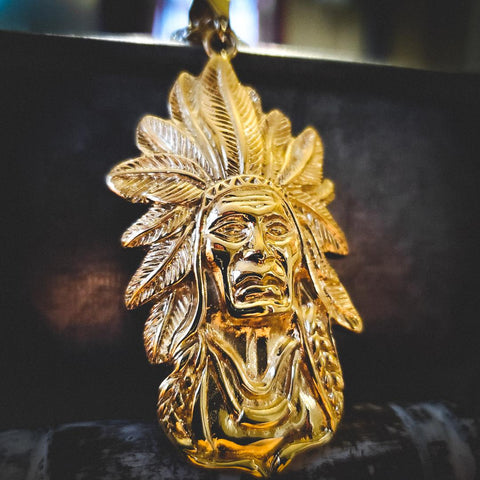 Gold Stainless Steel Chief Necklace - Hip Hop Jewelry | PrimoBling