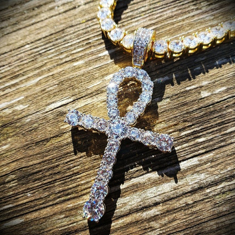 Diamond Tennis Chain Ankh Necklace Set - Hip Hop Jewelry | PrimoBling