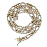 Iced out Diamond Figaro Link Chain - Hip Hop Jewelry | PrimoBling