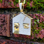 14k Gold Plated Iced Out Trap House Chain - Hip Hop Jewelry | PrimoBling