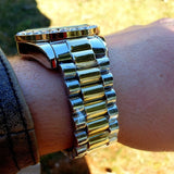 Silver and Gold luxury Large Stone Dial Watch - Hip Hop Jewelry | PrimoBling