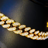 Gold 12mm Iced Out Cuban Link Necklace - Hip Hop Jewelry | PrimoBling