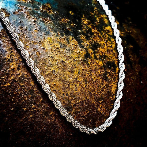 Stainless Steel 2mm Rope Necklace - Hip Hop Jewelry | PrimoBling