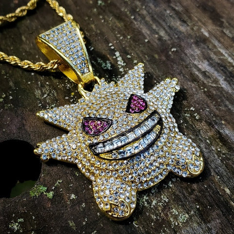 Iced out Gengar with Rope Necklace - Hip Hop Jewelry | PrimoBling