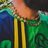 Gold Puffed Mariner Link Necklace - Hip Hop Jewelry | PrimoBling
