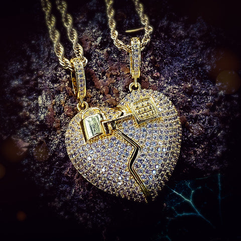 Iced Out Magnetic Heart 2 Piece Necklace - Hip Hop Jewelry | PrimoBling