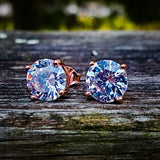 Sterling Silver Rose Gold Lab Diamond Earrings - Hip Hop Jewelry | PrimoBling