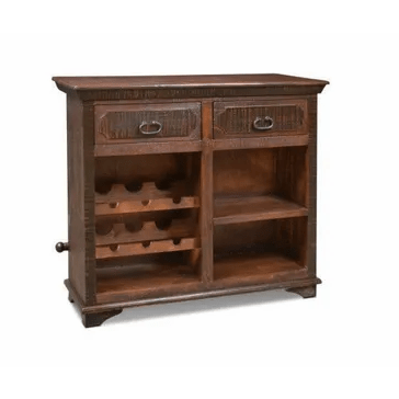 Crafters & Weavers Addison Rustic Bar Table with Wine Cabinet CW8600-100