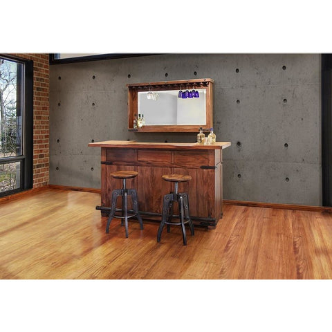 "Crafters & Weavers Granville Parota 66"" Bar Table with Wine Rack CW866BAR"