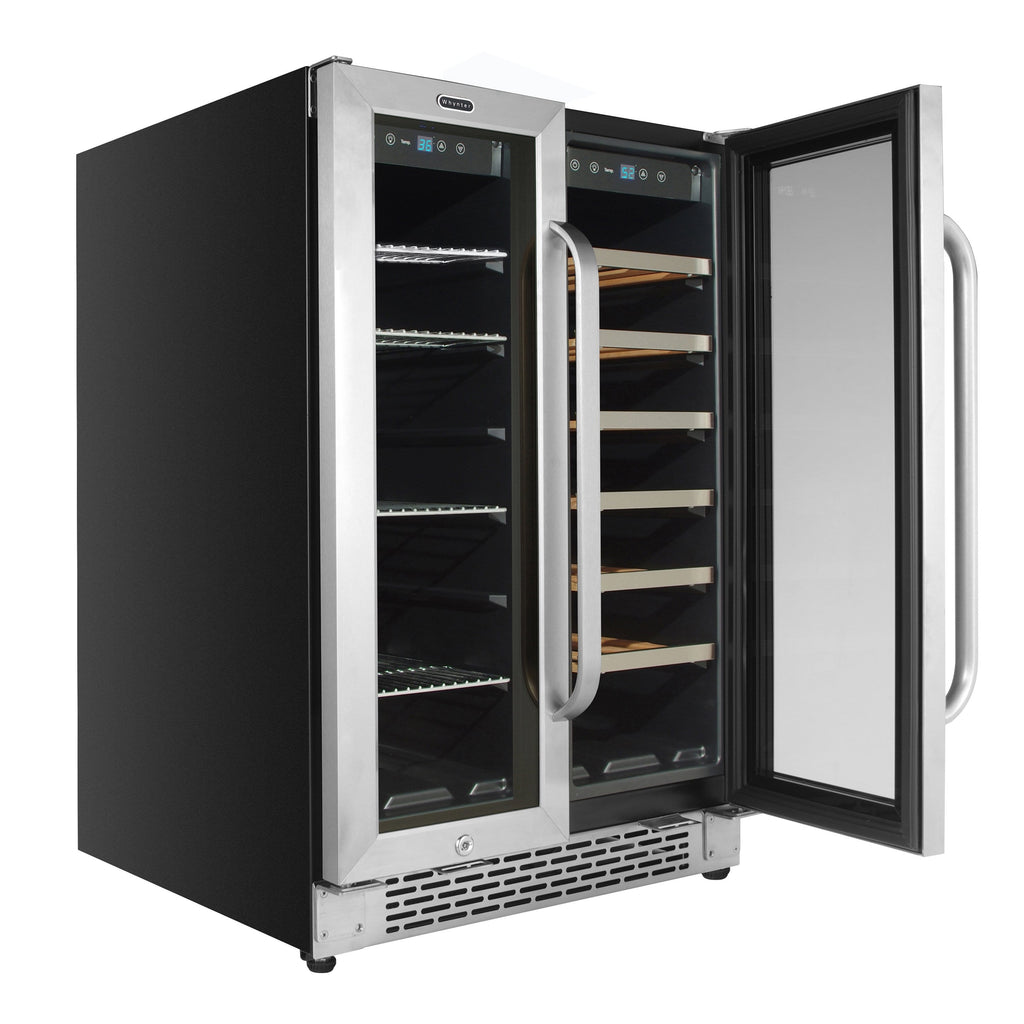 Whynter 24″ Built-In French Door Dual Zone 20 Bottle Wine Refrigerator 60 Can Beverage Center BWB-2060FDS