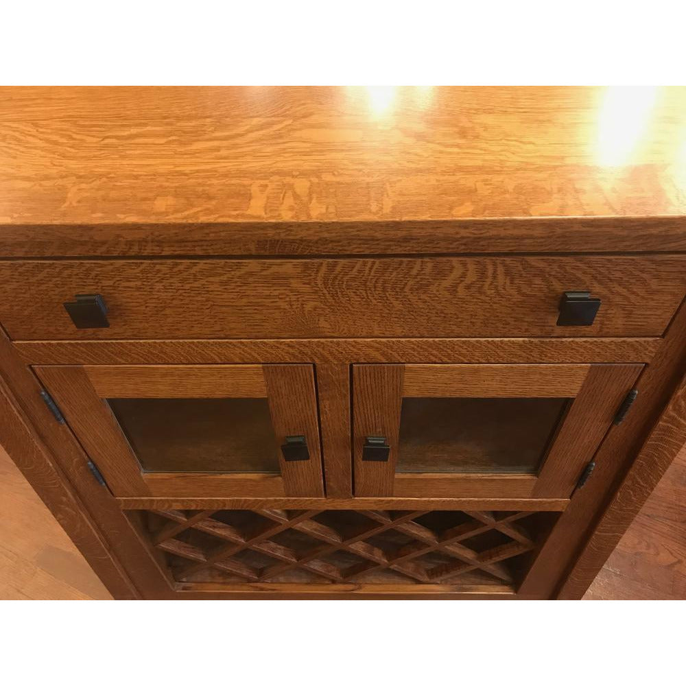 Crafters & Weavers Amish Made Quarter Sawn Wine Cabinet in White Oak CW1310