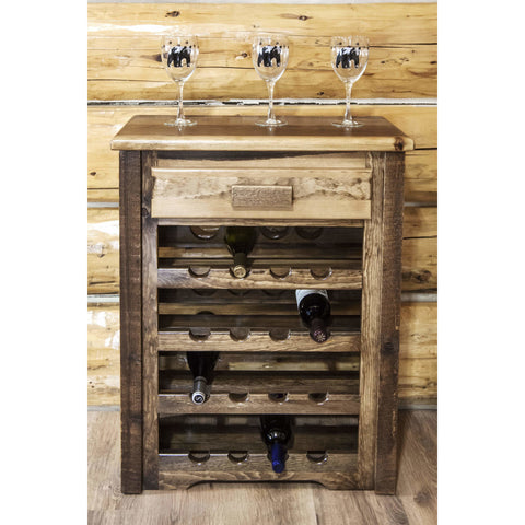 Montana Woodworks Homestead Stained and Lacquered Wine Cabinet MWHCWRSL