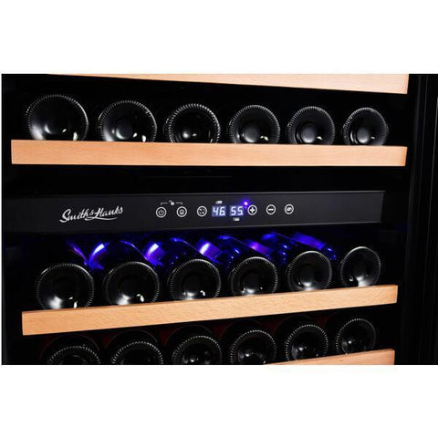Smith & Hanks 166 Bottle Dual Zone Smoked Glass Door Wine Cooler RE100017