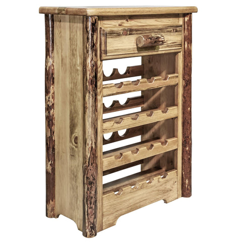 Montana Woodworks Glacier Country Log Wine Cabinet MWGCWR