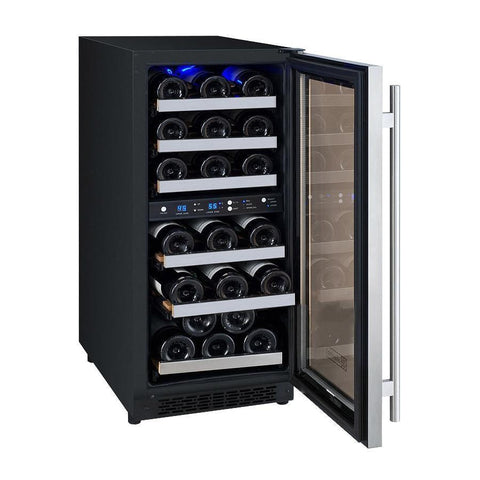 "15"" Wide FlexCount II Tru-Vino 30 Bottle Dual Zone Stainless Steel Right Hinge Wine Refrigerator VSWR30-2SR20"