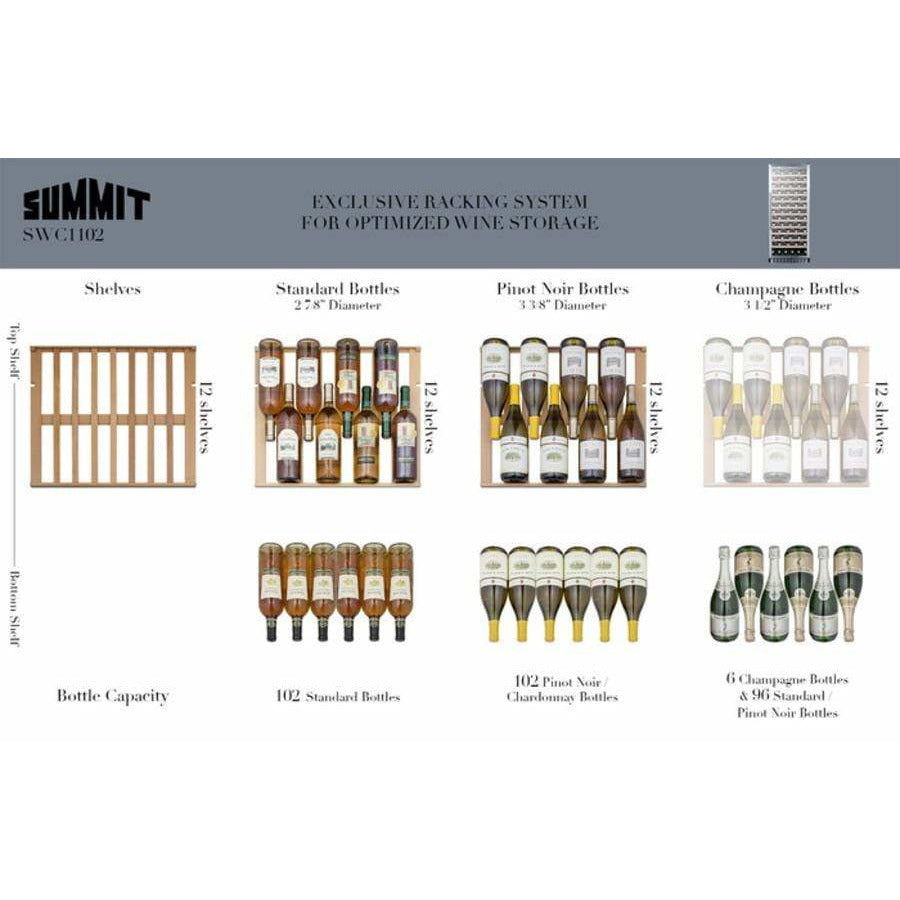 Summit 102 Bottle Single-Zone Wine Cooler w/ Glass Door SWC1102