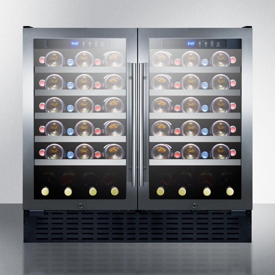 Summit Dual Zone Side by Side Stainless Steel Wine Cooler SWC3668