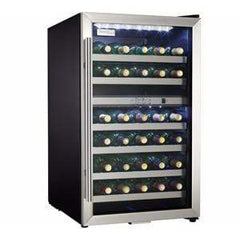 Danby Designer 38 Bottle Dual Zone Stainless Steel Glass Door Wine Cooler DWC114BLSDD
