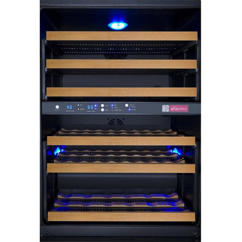"24"" Wide FlexCount II Tru-Vino 56 Bottle Dual Zone Black Left Hinge Wine Refrigerator VSWR56-2BL20"