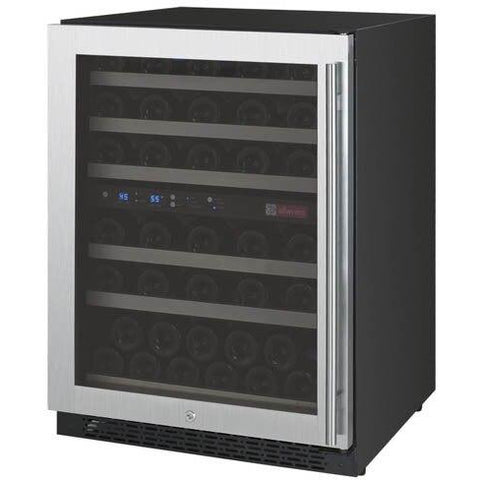 "24"" Wide FlexCount II Tru-Vino 56 Bottle Dual Zone Stainless Steel Left Hinge Wine Refrigerator VSWR56-2SL20"