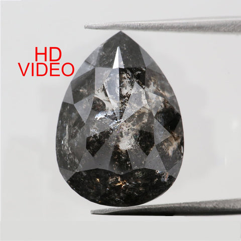 6.69 Ct Natural Loose Diamond Pear Black Grey Salt And Pepper Color I3 Clarity 14.30 MM KDL8306