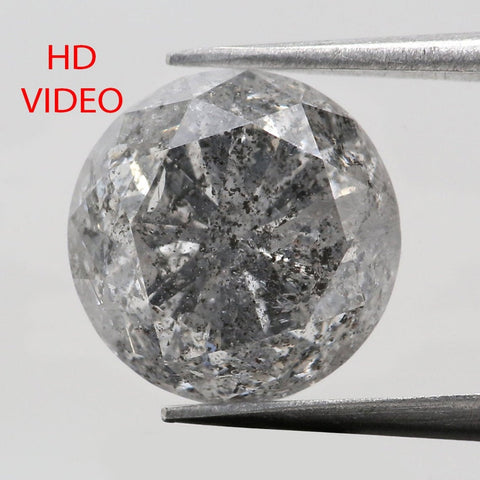 3.38 Ct Natural Loose Diamond Round Black Grey Salt And Pepper Color I3 Clarity 8.80 MM KDL8340