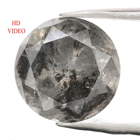 4.19 CT Natural Loose Diamond Round Black Gray Salt And Pepper Color I3 Clarity 9.75 MM L9066