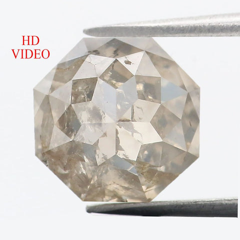 2.93 Ct Natural Loose Diamond Octagon White Gray Color I3 Clarity 8.05 MM KDL8886