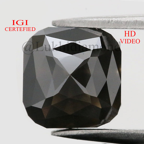 IGI CERTIFIED 1.67 Ct Natural Loose Diamond Cushion Brilliant Fancy Black Color 6 MM KDL8538