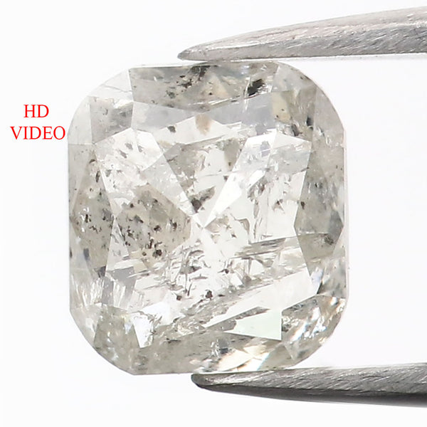 1.33 CT Natural Loose Diamond Cushion Grey Salt And Pepper Color 6.35 MM L9055