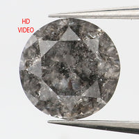 0.77 CT Natural Loose Diamond Round Black Grey Salt And Pepper Color 5.63 MM L9333