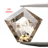 1.12 Ct Natural Loose Diamond Pentagon Brown color I3 Clarity 7.10 MM L9089