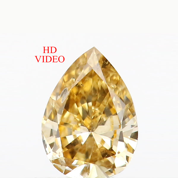 0.16 Ct Natural Loose Diamond Pear Yellow Color SI1 Clarity 4.85 MM L8638